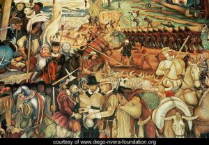 Colonisation,-The-Great-City-of-Tenochtitlan,-detail-from-the-mural,-Pre-Hispanic-and-Colonial-Mexico,-1945-52
