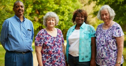 L-R: Benjamin Eaton, 57, Mary Schaeffer, 70, Esther Calhoun, 53, and Ellis Long, 74, stand for a portrait in Uniontown, Ala on May 27, 2016. The four are being sued by a local landfill operator for complaining on a Facebook page about pollutants from the landfill.