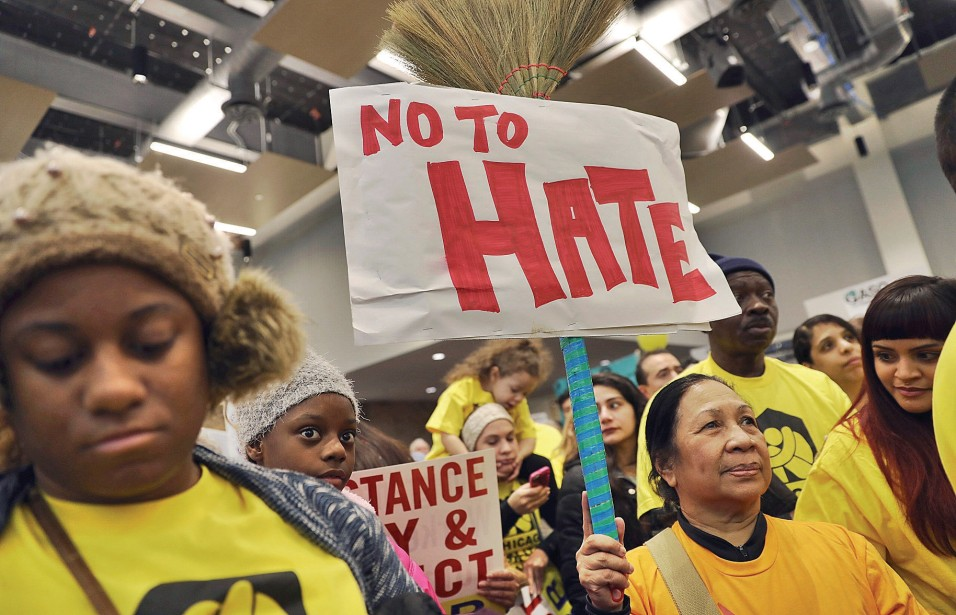 Demonstrators gather for a rally supporting immigrant rights, Saturday, Jan. 14, 2017 in Chicago. Immigrant rights advocates are planning demonstrations across the country in what they're calling a
