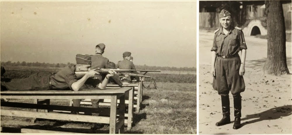 Hoecker, lying on a wooden platform about the height of a table, shoots a rifle. Right: Hoecker in his summer uniform.
